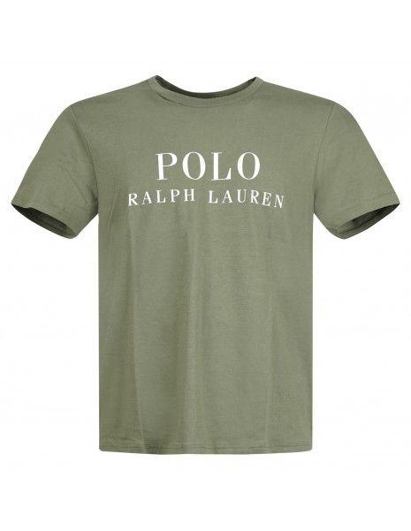 - T-shirt verde con logo stampato sul fronte per uomo | 714830278011