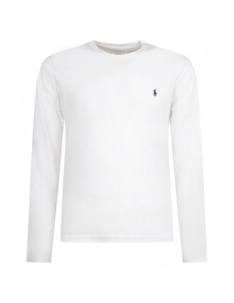 Polo Ralph Lauren - T-shirt bianca con logo ricamato sul petto manica lunga per