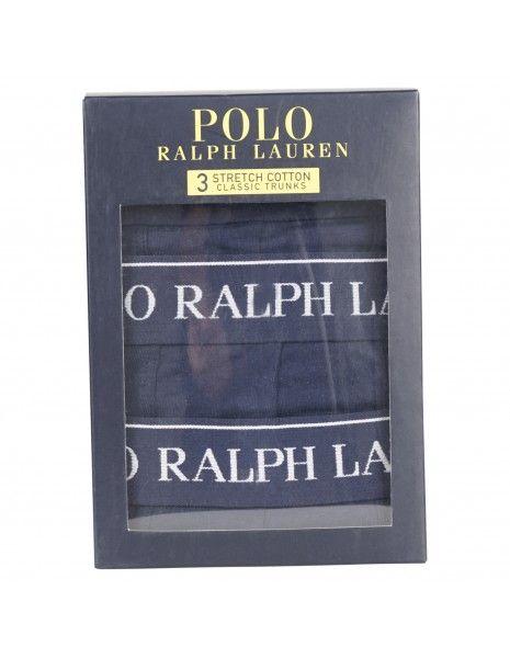 Polo Ralph Lauren - Set boxer blu da 3 pezzi con elastico per uomo  