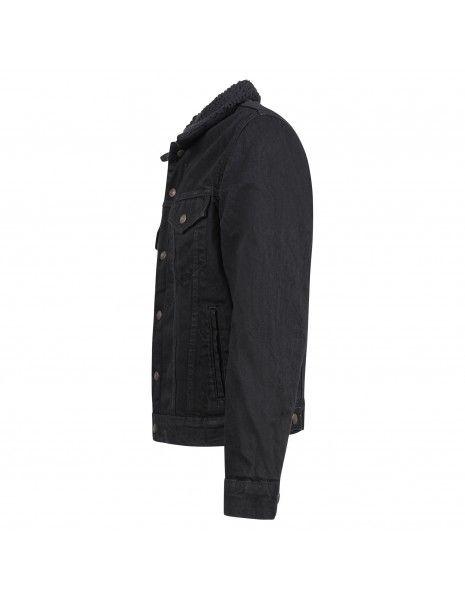 Levi's - Giubbotto in jeans nero con pelliccia per uomo | 16365-0100