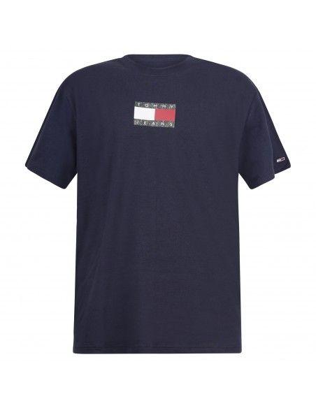 Tommy Jeans - T-shirt blu manica corta con stampa logo sul fronte e retro per
