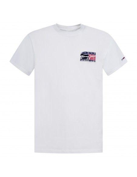 Tommy Jeans - T-shirt bianca manica corta con stampa logo sul fronte e retro
