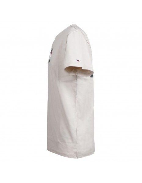 Tommy Jeans - T-shirt beige manica corta con stampa logo sul fronte e retro per