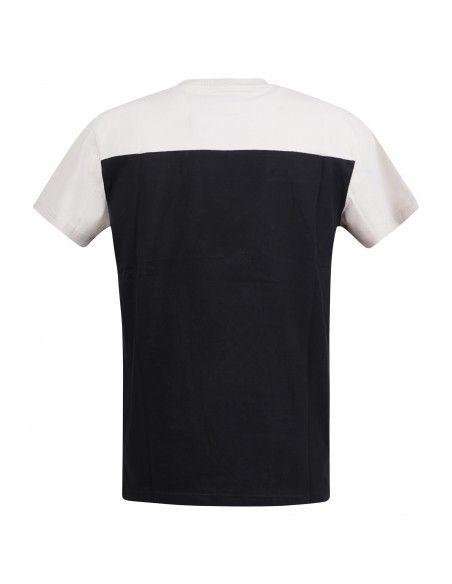 Tommy Jeans - T-shirt beige e nero manica corta con logo ricamato per uomo  