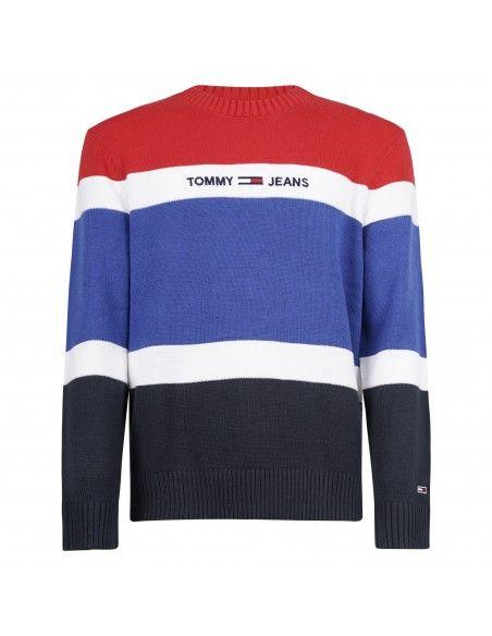 Tommy Jeans - Maglione girocollo rigato con logo ricamato sul fronte per uomo |
