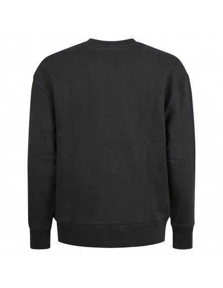 Tommy Jeans - Felpa nera girocollo con patch logo stampato sul fronte per uomo