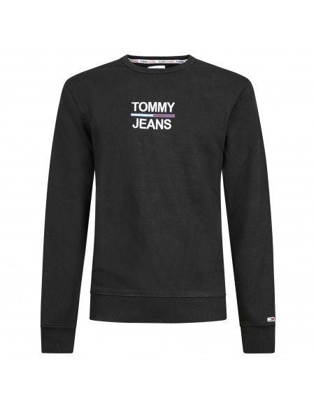 Tommy Jeans - Felpa nera girocollo con logo ricamato sul fronte per uomo |
