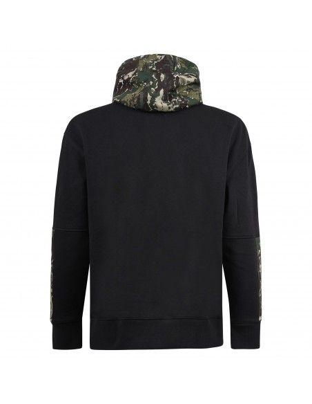 Tommy Jeans - Felpa nera con cappuccio fantasia mimetica per uomo |