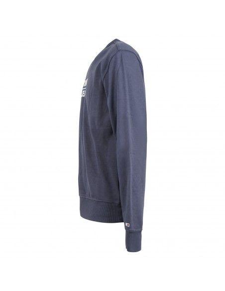 Tommy Jeans - Felpa blu girocollo con logo ricamato sul fronte per uomo |