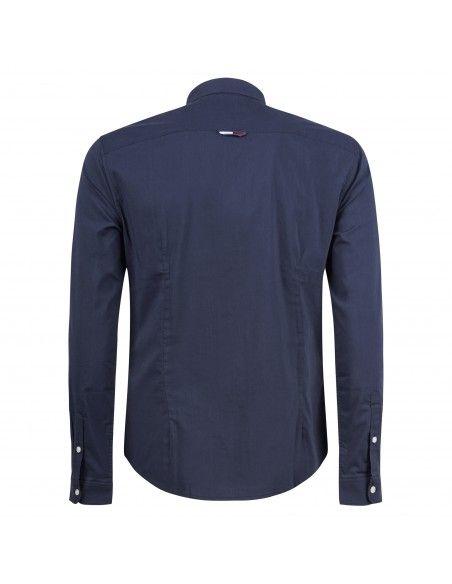 Tommy Jeans - Camicia blu con patch logo sul petto per uomo | dm0dm09699c87