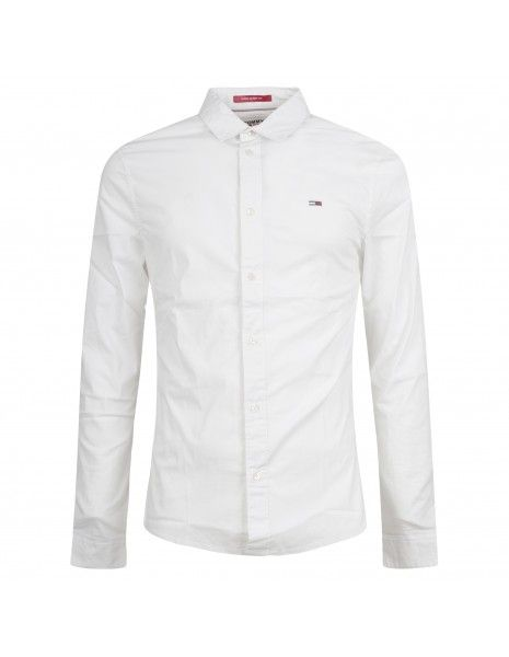Tommy Jeans - Camicia bianca con patch logo sul petto per uomo | dm0dm09699ybr