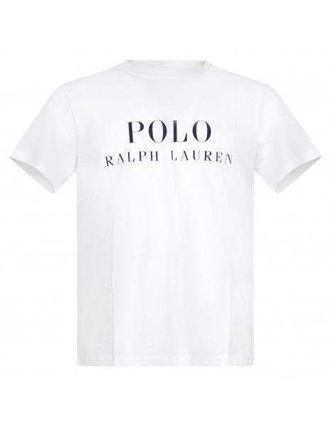 Polo Ralph Lauren - T-shirt bianca con logo stampato sul fronte per uomo  