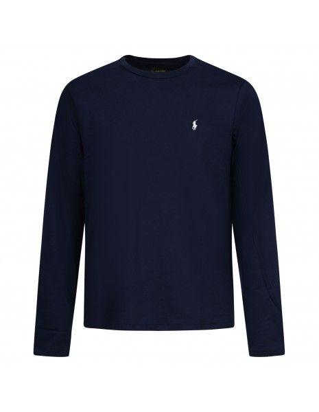 Polo Ralph Lauren - T-shirt blu con logo ricamato sul petto manica lunga per