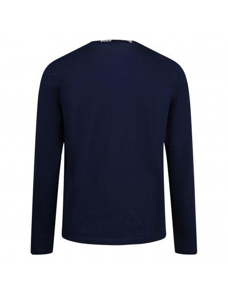 Polo Ralph Lauren - T-shirt blu manica lunga girocollo logato per uomo |