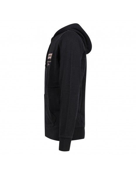Levi's - Felpa nera cappuccio con cerniera logo sul petto per uomo | 38820-0021