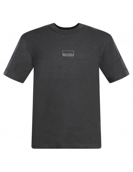 Adidas Originals - T-shirt nera con logo gommato sul petto per uomo   h11498