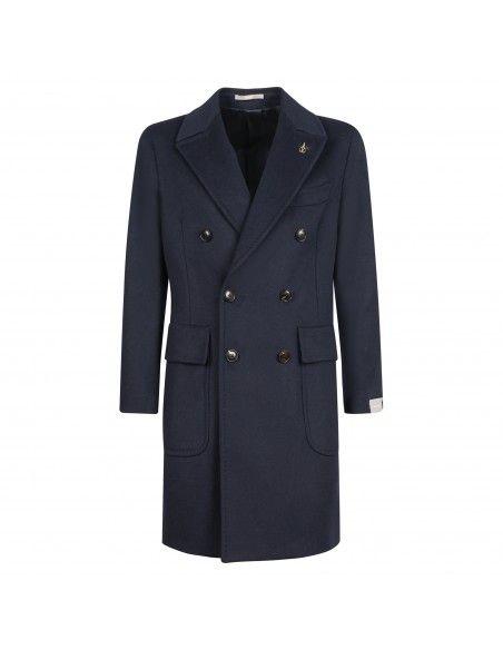 Paoloni - Cappotto blu doppiopetto per uomo | 3111c277211600