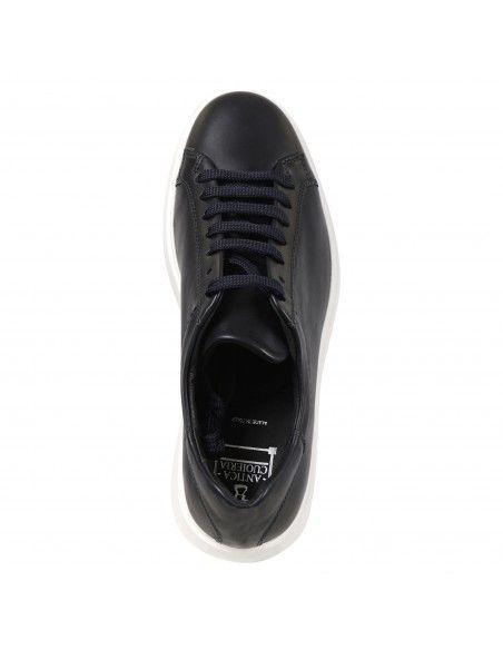 Antica Cuoieria - Sneakers blu basse pelle per uomo   22381-z-v55