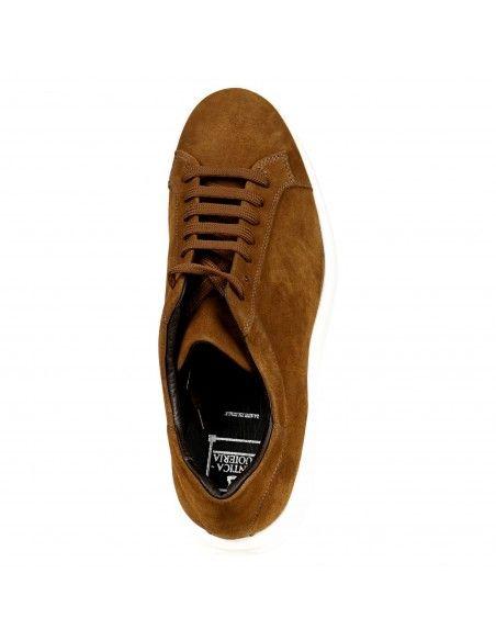 Antica Cuoieria - Sneakers marrone basse camoscio per uomo | 22202-x-v55