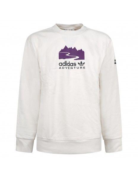 Adidas Originals - Felpa bianca girocollo con logo adidas adventure per uomo  