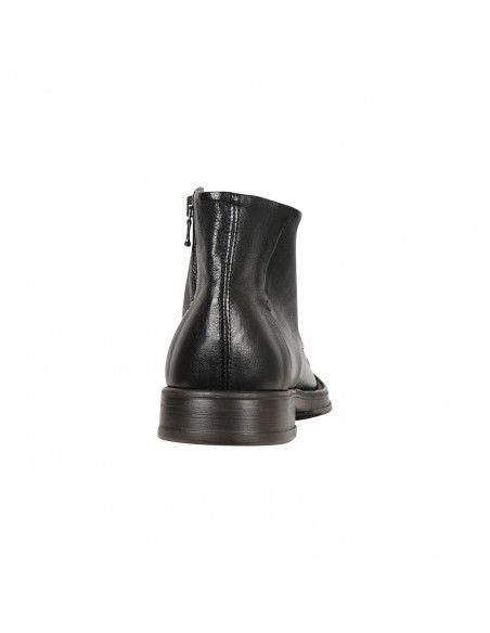 Antica Cuoieria - Stivaletto nero in pelle con zip laterale per uomo  