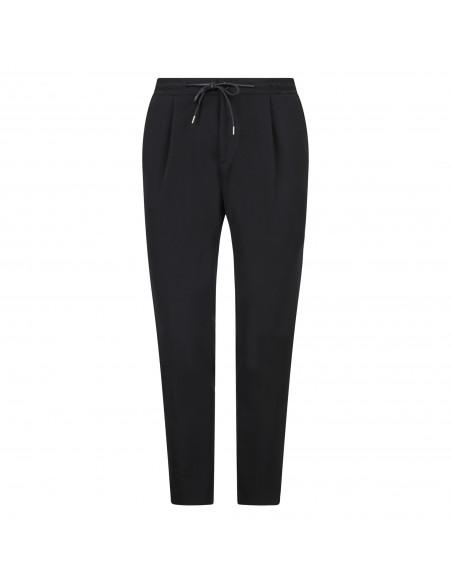 Luca Bertelli - Pantalone nero con elastico in vita e coulisse per uomo |