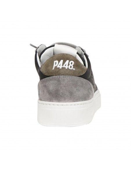 P448 - Scarpa nera in pelle e finiture camoscio per uomo | f21soho-m blk/oli