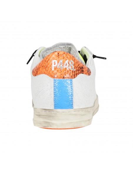 P448 - Scarpa in pelle bianca screpolata con logo per uomo | f21john-m sol