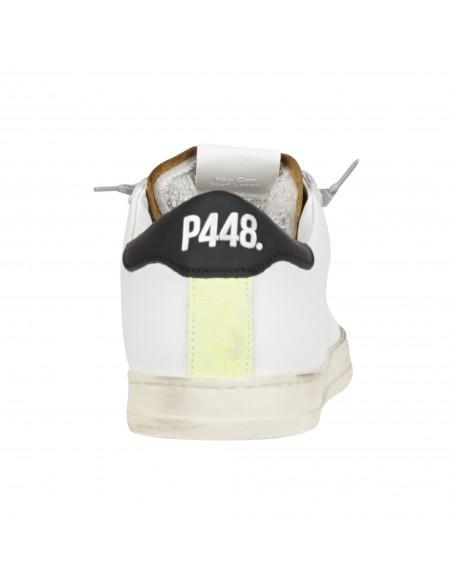 P448 - Scarpa in pelle bianca con logo traforato per uomo | f21john-m whi/cam
