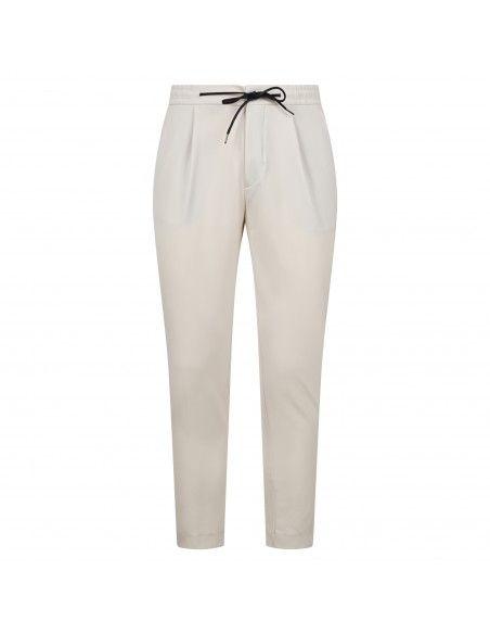 Luca Bertelli - Pantalone bianco con elastico in vita e coulisse per uomo  