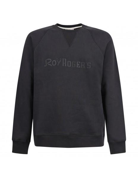 Roy Roger's - Felpa nera girocollo con logo gommato per uomo | rru352cb37