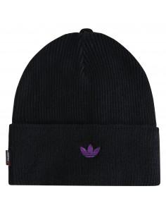 Cappello nero lana con logo viola