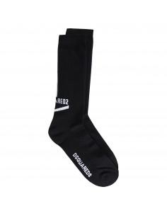 Calzini neri con logo e striscia verticale bianco