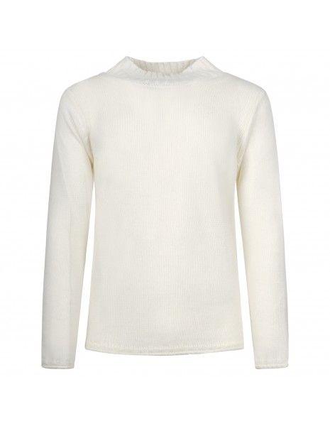 Officina36 - Maglione bianco girocollo alto per uomo | cufr314