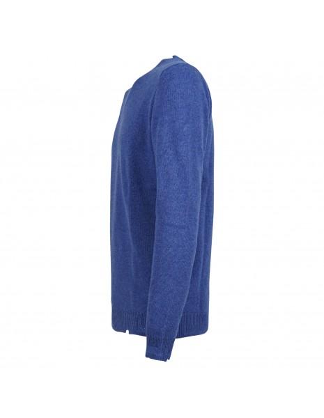 Officina36 - Maglione girocollo azzurro con rotture per uomo   culm108