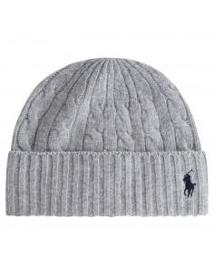 Cappello grigio in lana maglia intrecciata