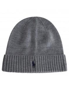 Cappello grigio in lana con bordo a coste