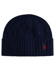 Cappello blu in lana maglia intrecciata