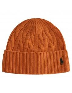 Cappello arancione in lana maglia intrecciata