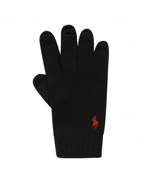 Polo Ralph Lauren - Guanti neri con logo ricamato per uomo | 710761416003